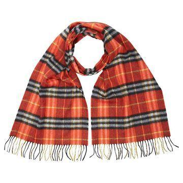 Burberry Check Cashmere Scarf- Orange Red