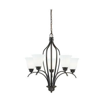 Vaxcel Lighting Darby 5 Light Single Tier Chandelier w/ Etched Glass S