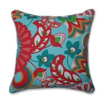 Pillow Perfect Sophia Turquoise/Coral 2-Piece 18-1/2-in x 18-1/2-in Green Cotton Indoor Decorative Pillow Polyester   630335