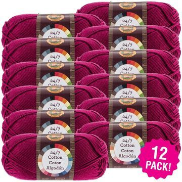 Lion Brand 24/7 Cotton Yarn - 12/Pk-Magenta - Pink