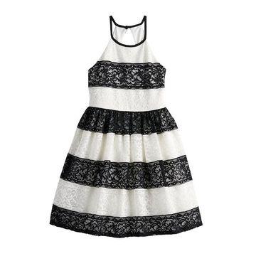 Girls 7-16 My Michelle Striped Lace Dress