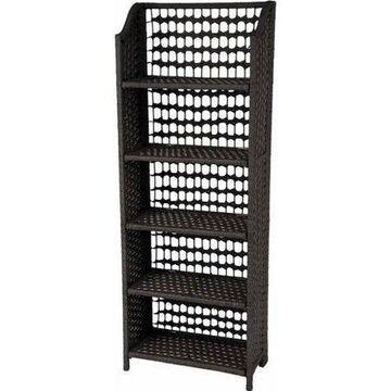 Oriental Furniture Natural Fiber Shelving Unit, 5 Shelf, Black