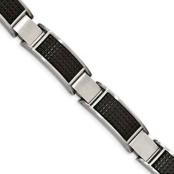 Chisel Stainless Steel Brushed Black IP-plated Textured Link with .50-inch Extension Bracelet (White - 8 Inch)