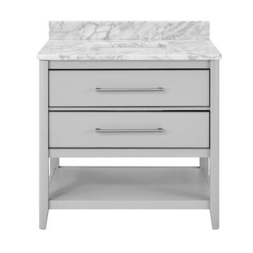 ED Ellen DeGeneres Lynnmere 36-in Light Gray Undermount Single Sink Bathroom Vanity with Natural Carrara Marble Top