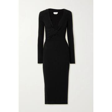 Alexander McQueen - Twist-front Ribbed Wool Midi Dress - Black