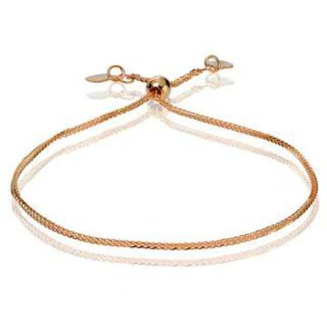Mondevio 14k White Gold 0.8mm Spiga Wheat Adjustable Italian Chain Bracelet, 7-9 Inches (Strand/Stackable - Rose - 9 Inch/7 Inch/7.25 Inch/8 Inch/7.5