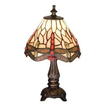 17525 11.5 Inch H Tiffany Scarlet Dragonfly Mini Lamp