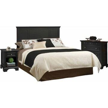 Home Styles Bedford King Headboard, Nightstand and Chest, Black