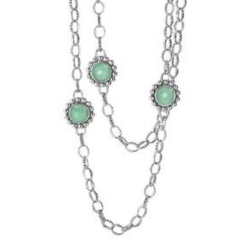 Silver Maya Variscite Chain Link Necklace