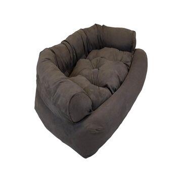 Snoozer Luxury Micro Suede Overstuffed Pet Sofa in Dark Brown, 36