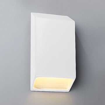 Justice Design Group Ambiance Tapered Rectangle Closed Top Outdoor LED Wall Sconce - Color: White - Size: Large - CER-5870W-WHT