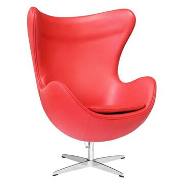Fine Mod Imports Inner Leather Chair, Red