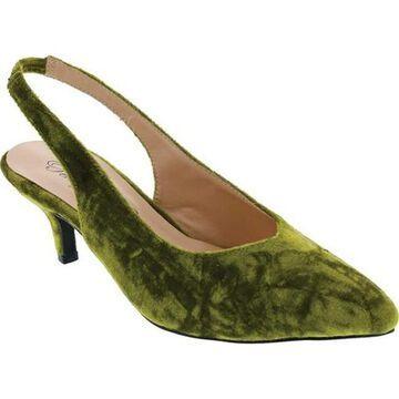 Penny Loves Kenny Women's Dashing Slingback Green Crushed Velvet