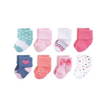 Luvable Friends Girls' Socks Confetti - Confetti Terry Socks - Set of Eight