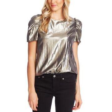 CeCe Metallic Puff-Sleeve Top