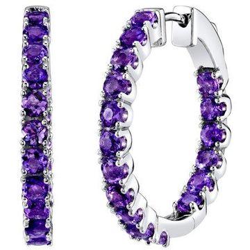 Sterling Silver 3.5 Carats Amethyst Inside-Out Hoop Earrings