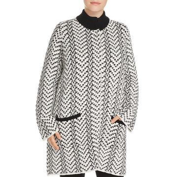 Foxcroft Women's Plus Button Snap Knitted Coat