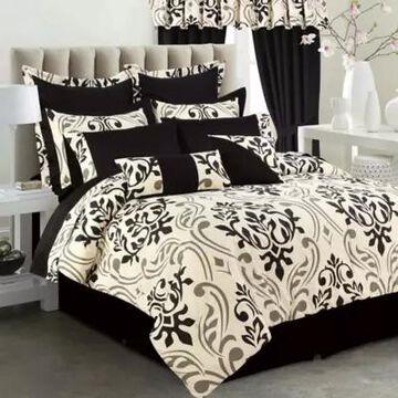 Tribeca Living Prague 12-Piece Full Comforter Set in Black/Taupe