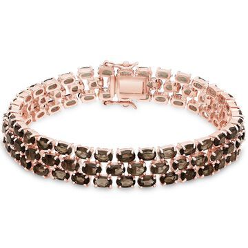 Dolce Giavonna Rose Gold Over Sterling Silver Smokey Quartz Three Strand Bracelet