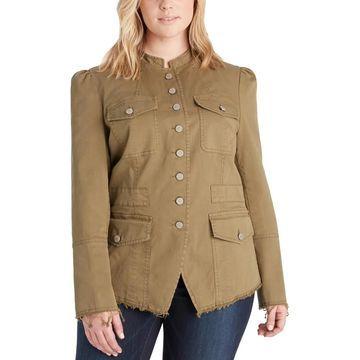 William Rast Womens Plus Bragg Military Jacket Lightweight Casual