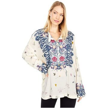 Johnny Was Nostra Silk Blouse (Multi A) Women's Clothing