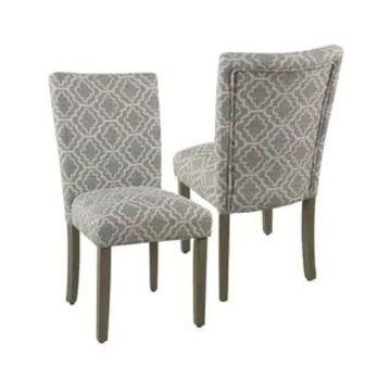 HomePop Parsons Ash Grey Geometric Dining Chair (Set of 2) (Grey)