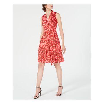 ANNE KLEIN Womens Red Printed Sleeveless V Neck Knee Length Wrap Dress Dress Size: 12