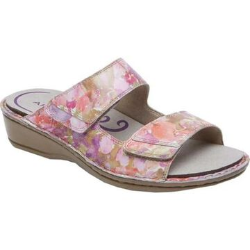 Aravon Women's Cambridge Slide Sandal Pink Floral Leather