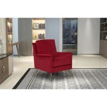 HomePop Modern Armchair - Textured Ruby Velvet (Ruby)