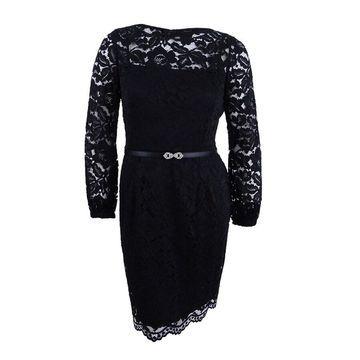 Ellen Tracy Women's Petite Embellished Belt Lace Dress (12P, Black) - Black - 12P