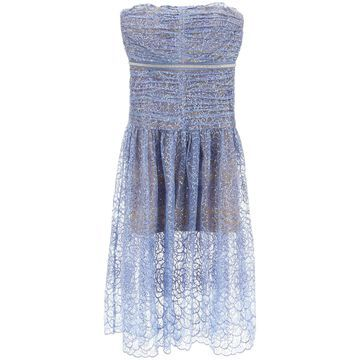 SELF PORTRAIT EMBROIDERED TULLE BUSTIER DRESS 8 Blue