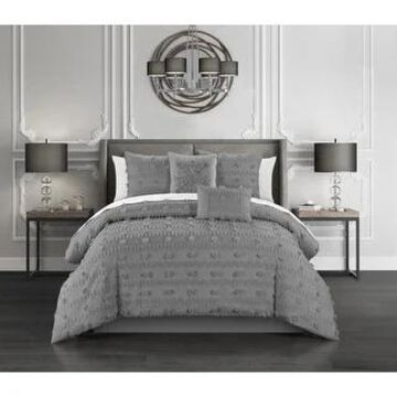 Chic Home Atisa 5 Piece Jacquard Applique Comforter Set (Grey - King)