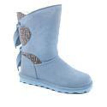BEARPAW Willow Suede Tie-Detail Boot with NeverWet - Wide - Blue