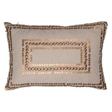 Dashiell Copper Beaded Pillow, Linen, 14x20