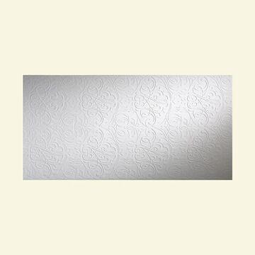 Fasade Damask Gloss White 4-foot x 8-foot Wall Panel