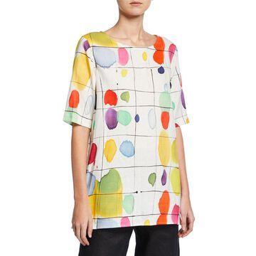 Paint Box Printed Elbow-Sleeve Linen Tunic