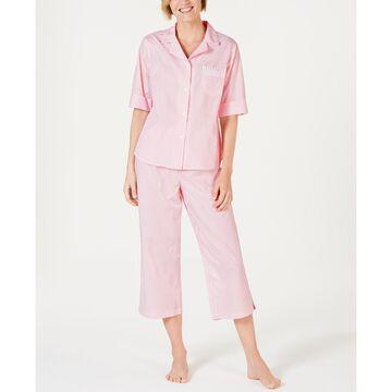 Stripe-Print Cotton Short-Sleeve Top and Cropped Pajama Pants Set