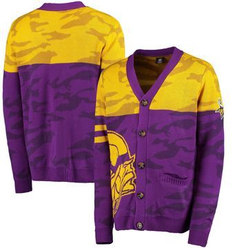 Minnesota Vikings Klew Camouflage Cardigan - Purple