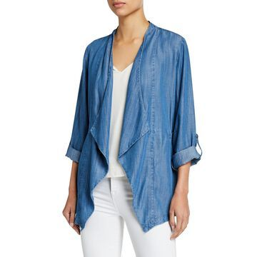 Chambray Open-Front Roll-Sleeve Jacket