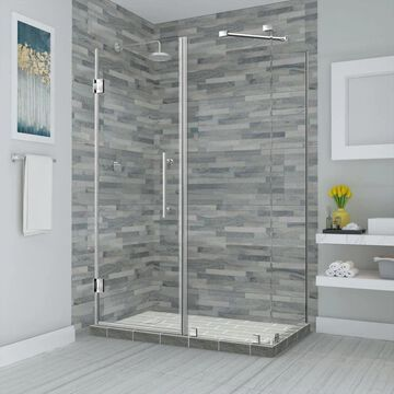 Aston Bromley 72-in H x 55-1/4-in to 56-1/4-in W Frameless Hinged Shower Door (Clear Glass) Stainless Steel   SEN967EZSS56243610
