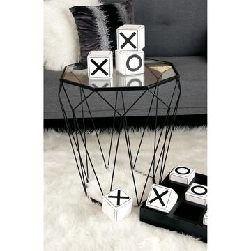 Contemporary 22 x 20 Inch Geodesic Accent Table by Studio 350