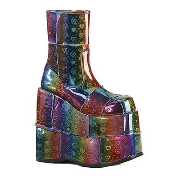 Demonia Men's Stack 201 Ankle Boot Rainbow Hologram Vegan Leather
