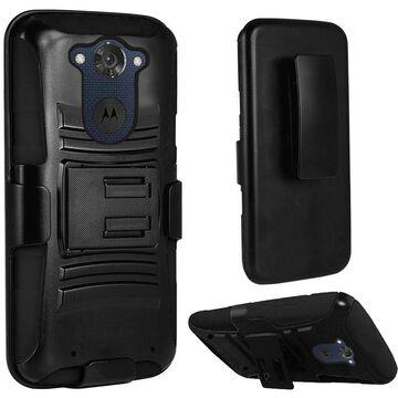 Insten Hard Hybrid Rugged Shockproof Plastic Silicone Case w/Holster For Motorola Droid Turbo - Black