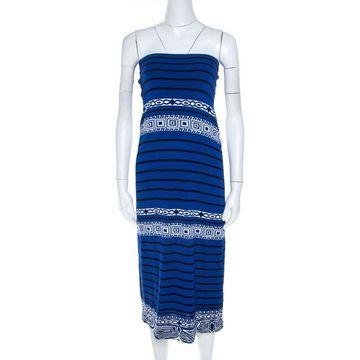 Emilio Pucci Blue Knit Aztec Pattern Strapless Dress S