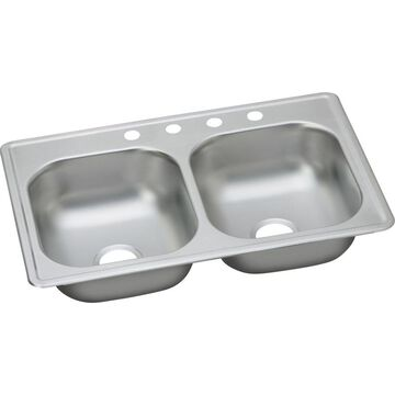 Elkay Dayton 33-in x 19-in Elite Satin Double Equal Bowl Drop-In 4-Hole Residential Kitchen Sink