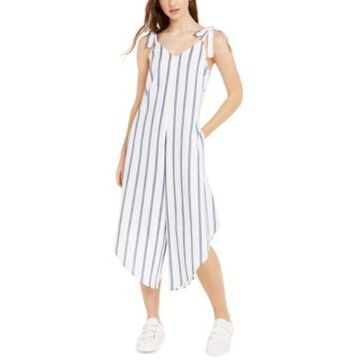 Msk Juniors' Striped Asymmetrical-Hem Cropped Jumpsuit