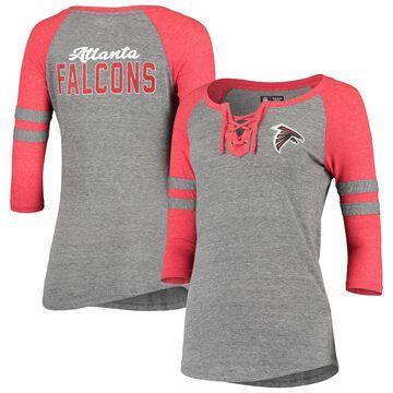 Atlanta Falcons 5th & Ocean by New Era Women's Lace-Up Tri-Blend Raglan 3/4-Sleeve T-Shirt Gray