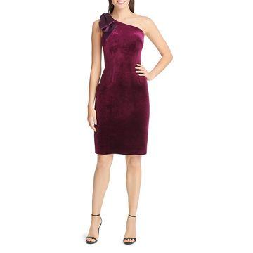 Eliza J Womens Velvet Cocktail Sheath Dress