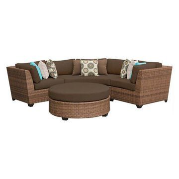 TK Classics Laguna 4-Piece Outdoor Wicker Sofa Set, Cocoa