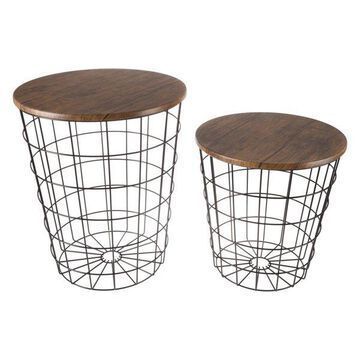 Black Metal Nesting End Tables with Storage, Set of 2 By Lavish Home